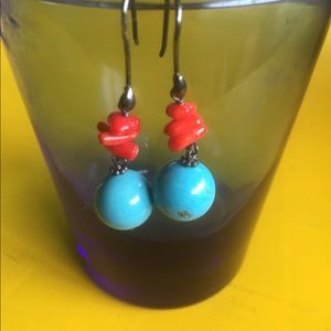 Jewelry - Turquoise,Coral and Sterling Earrings